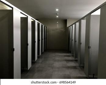 Toilet in the office building - dark