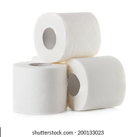 toilet paper close-up isolated on white background