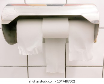 Toilet paper dispenser has rolls placed both ways providing options in bathroom or rest room with tiles