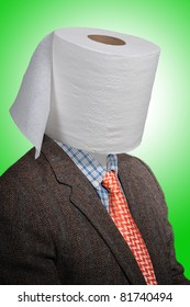 Toilet paper head man, with a tweed coat and an orange tie over a green background