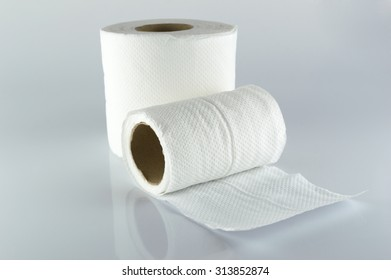 Toilet paper isolated on gray background