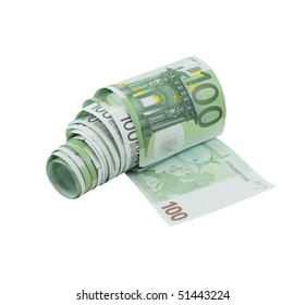 Toilet paper made from one hundred euro banknotes, isolated on a white background