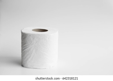 Toilet paper on  isolated background.