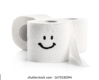 Toilet paper roll with happy smile isolated on white background