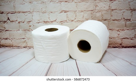 Toilet paper roll  on  background.