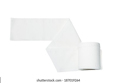 toilet paper roll on white background