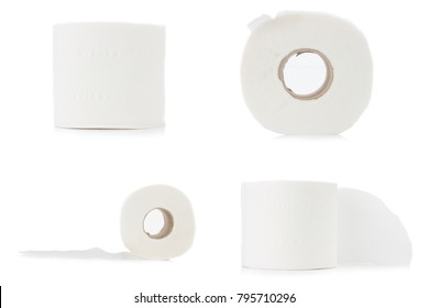 toilet paper. roll. set collection isolated on white background.