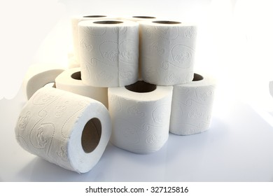 Toilet paper rolls isolated on white.
