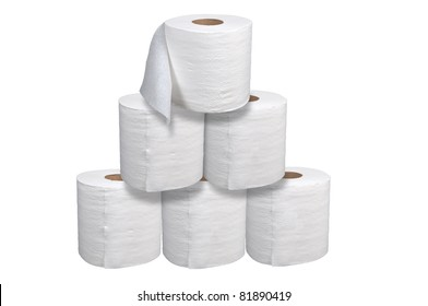 Toilet paper stacked isolated over a white background