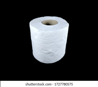 Toilet paper tissue roll on black background