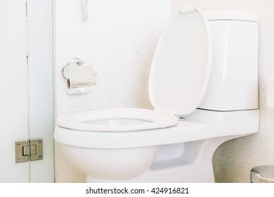 Toilet seat decoration in toilet room interior - Vintage light Filter