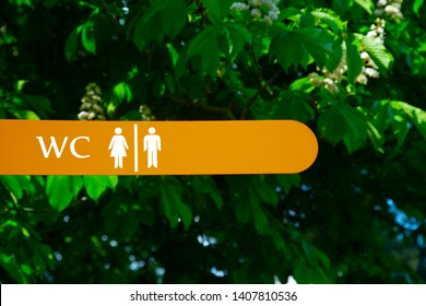 Toilet sign against the background of green trees in the park. White wc sign on brown metal plate