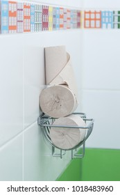 Toilet tissue grey rolls. Diarrhea concept.