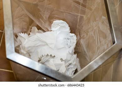 Toilet - Trash Bin, Waste paper in bin.