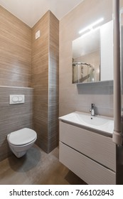 Toilet and washbasin in modern bathroom interior