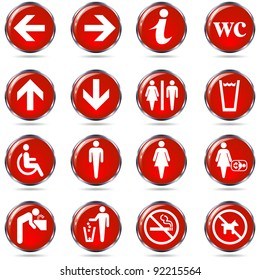 Toilet wc sign set. Round red information sign set for restrooms. Isolated on white.