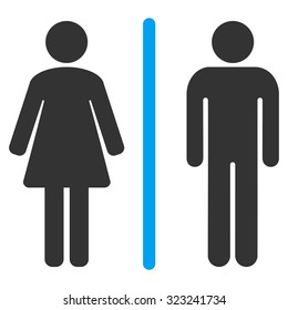 Toilets glyph icon. Style is bicolor flat symbol, blue and gray colors, rounded angles, white background.