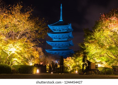 Toji Japanese Buddhism temple is The world heritage site with many leaf colorful maple trees during light up autumn leaves in Kyoto, Japan