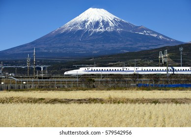 Tokaido Shinkansen and Fuji mountain with rice field