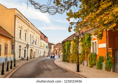 Tokaj historic city center in autumn colours. The small town in Northeastern Hungary is famous for its viticulture