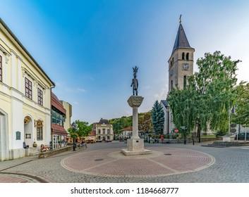 TOKAJ, HUNGARY - AUGUST 29,2018: The downtown of Tokaj.  Tokaj Wine Region Historic Cultural Landscape is Unesco World Heritage Site.