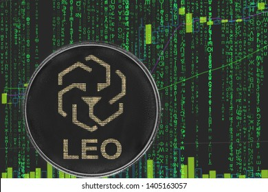 token bitfinex Leo  cryptocurrency on the green matrix background of binary crypto price chart.