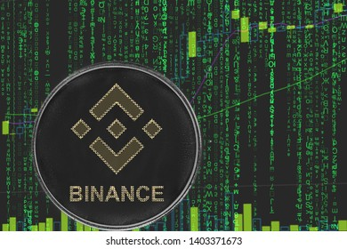 token bnb binance  cryptocurrency on the green matrix background of binary crypto price chart.