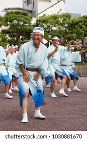 TOKUSHIMA, JAPAN. 12 AUG 2016 AWA ODORI. One of the traditional Japanese dances at the Obon festival. The largest dance festival in Japan. The City Of Tokushima. Festival participant.