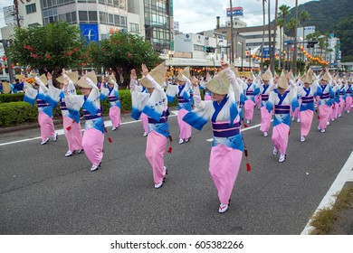 TOKUSHIMA, JAPAN. 12 AUG 2016 AWA ODORI. One of the traditional Japanese dances at the Obon festival. The largest dance festival in Japan. The City Of Tokushima.