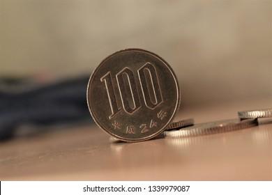 Tokyo - 02 03 2018: 100 yen coin