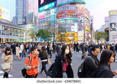 TOKYO - APRIL 10: Crowds of people crossing the center of Shibuya on April 10 2017, the most important commercial and fashion center in Tokyo, Japan