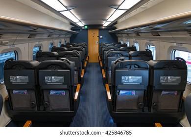 "TOKYO - April 19,2016 : Green seats of E6 Series bullet(High-speed,Shinkansen) train. This Shinkansen train service as ""Komachi"" operated by JR East for Akita Shinkansen lines. (Tokyo-Akita route)"