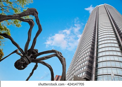 TOKYO - april 24: The Spider statue at Roppongi Hills april 24, 2016 in Tokyo, JP. Roppongi hills is a 27 acre mega-complex with the 54-story Mori Tower as the centerpiece.
