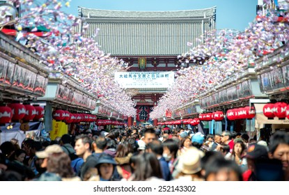 TOKYO -APRIL 7 2014 : Nakamise shopping street in Asakusa connect to Senso-ji Temple in Asakusa, Tokyo on 7 April 2014.The Senso-ji Temple in Asakusa is the most famous temple in tokyo.