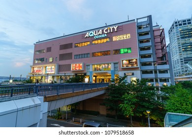 TOKYO - AUG 22: Landscape of Aqua City on Aug 22, 2017 in Odaiba, Tokyo, Japan.