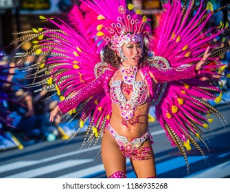 TOKYO - AUG 25 : Participant in the Asakusa samba carnival in Tokyo Japan on August 25 2018. The Asakusa samba carnival is the largest of its kind in the northern hemisphere.