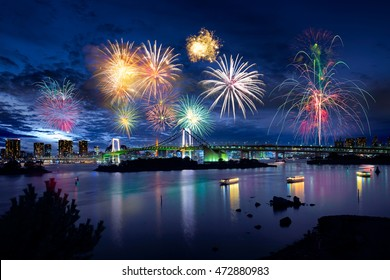 Tokyo bay city view and tokyo rainbow bridge with beautiful fireworks