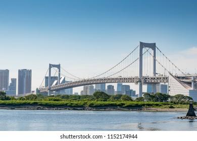Tokyo Bay with Rainbow Bridge in Odaiba city skyline, Japan