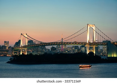 Tokyo bay with rainbow bridge and Tokyo Tower in Japan. - Shutterstock ID 333711569