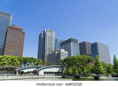Tokyo city landscape fresh green Ocean Otemachi Marunouchi