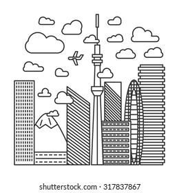 tokyo city line illustration