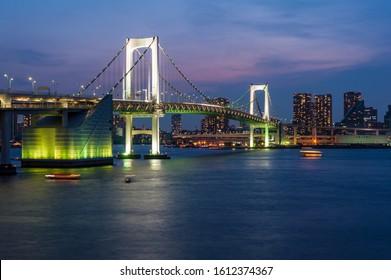 Tokyo city and Rainbow bridge at twilight