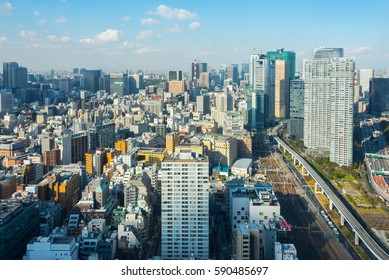 Tokyo City Scape Taken from Shinbashi, Tokyo, Japan - February 25, 2017: Including; Acty Shiodome, Urban Renaissance Agency, UR Agency, Tokyo Skytree, Tokyo Twin Parks, Shiodome City Center.