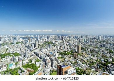 Tokyo city scenery city center full view spring green