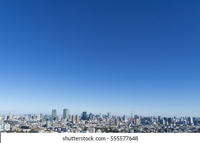 Tokyo city scenery city center view wide Tokyo Tower Roppongi Sunny blue sky copy space