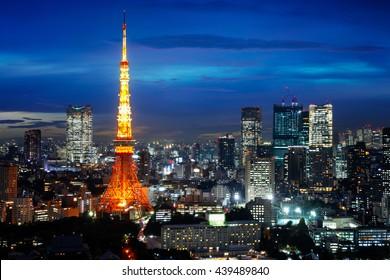 Tokyo city skyline at sunset, Tokyo Japan