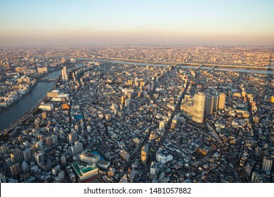 Tokyo city view in the evening with Sumida river