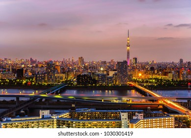 Tokyo city view at sunset time.