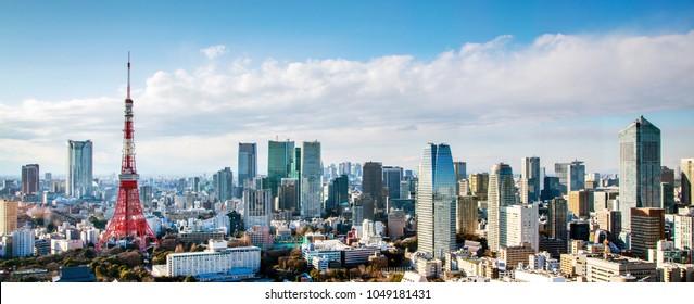 Tokyo city view with Tokyo Tower, landmark of Japan