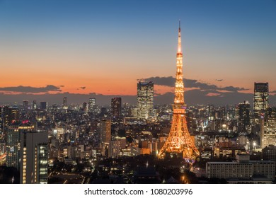Tokyo city view with Tokyo Tower at night